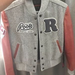 NWT roots varsity wool leather jacket